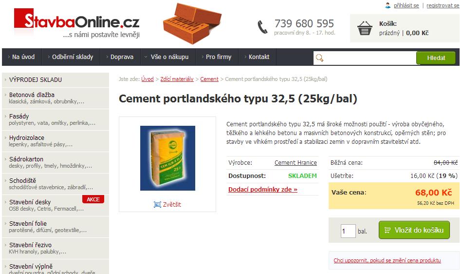 Prodej portlandské cementu na internetu