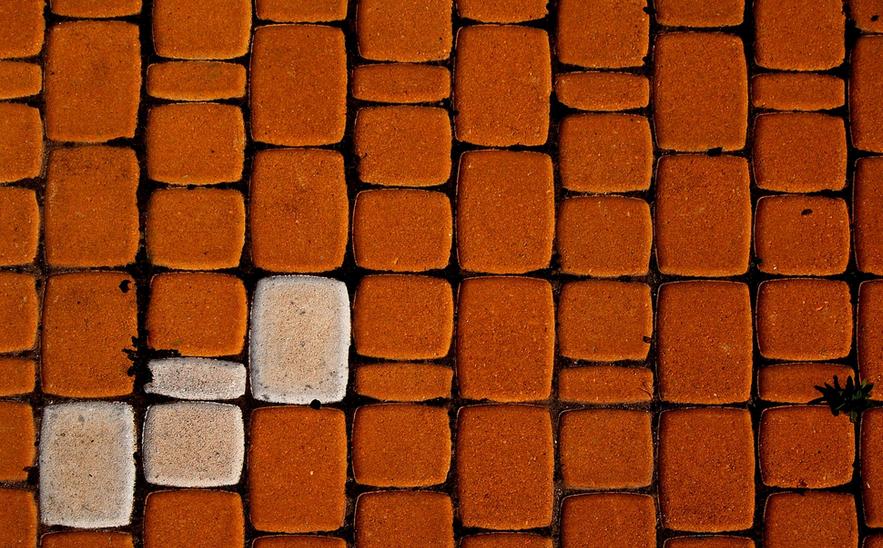 Barevná betonová dlažba pod pergolu