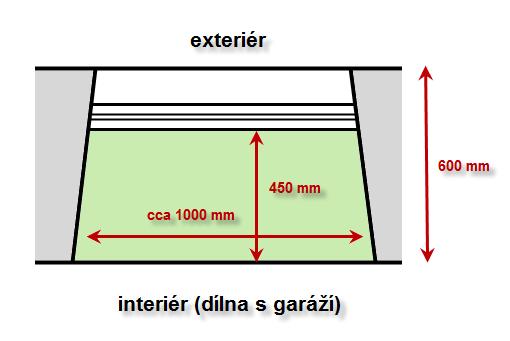 Náčrt okna a parapetu v dílně.