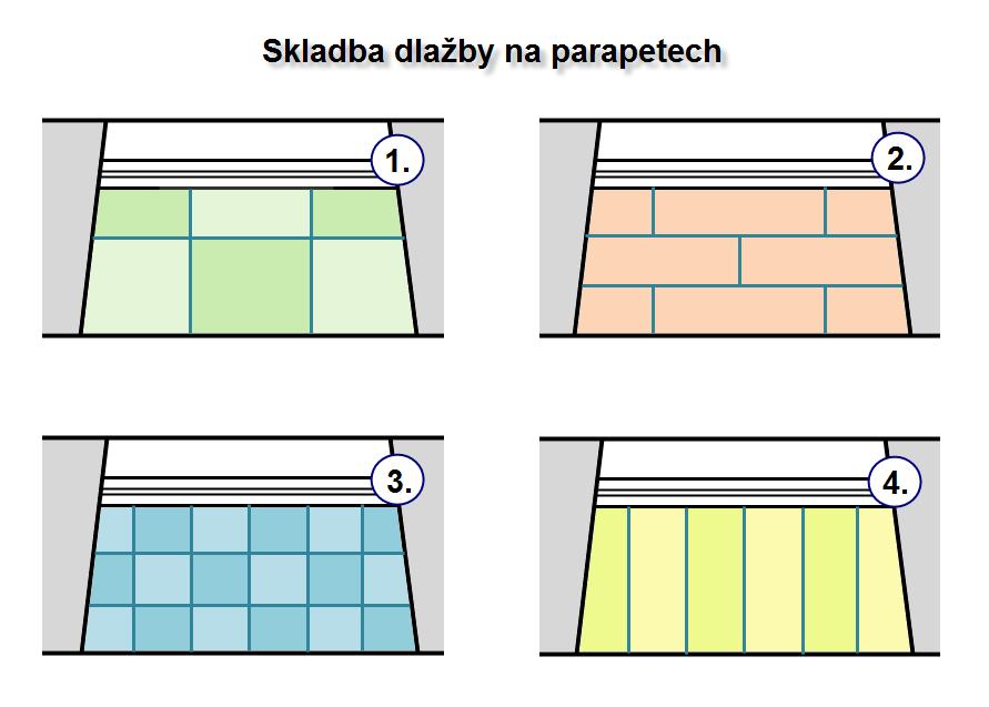 Jak může vypadat parapet z dlažby - náčrt.