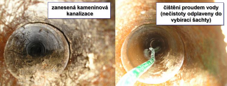 Čištění zanesené kameninové kanalizace