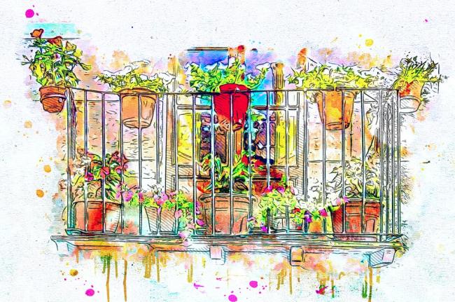 Kresba balkónu s květinami