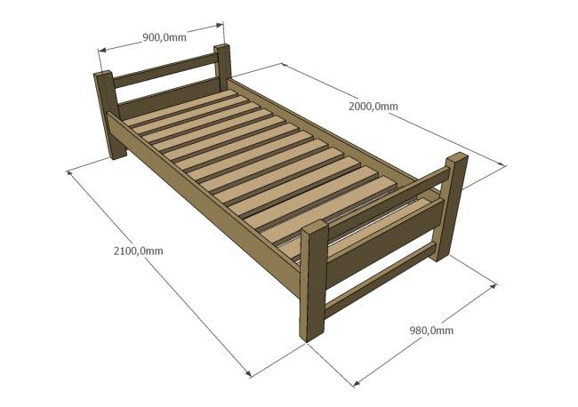 Rozměry dřevěné jednolůžkové postele