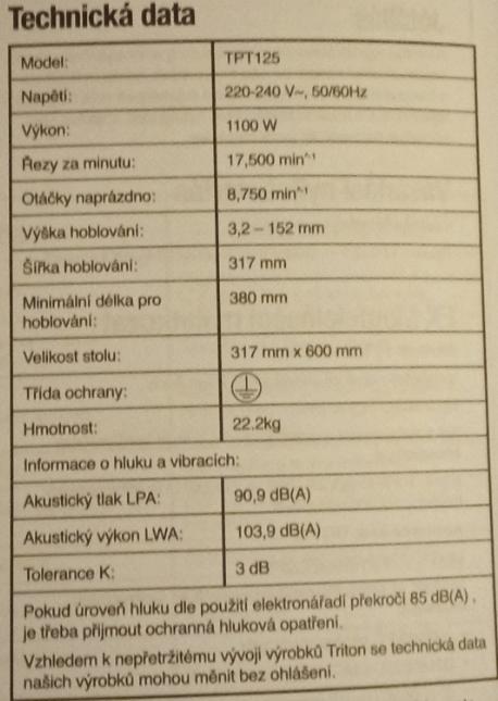 Technická data Triton TPT 125